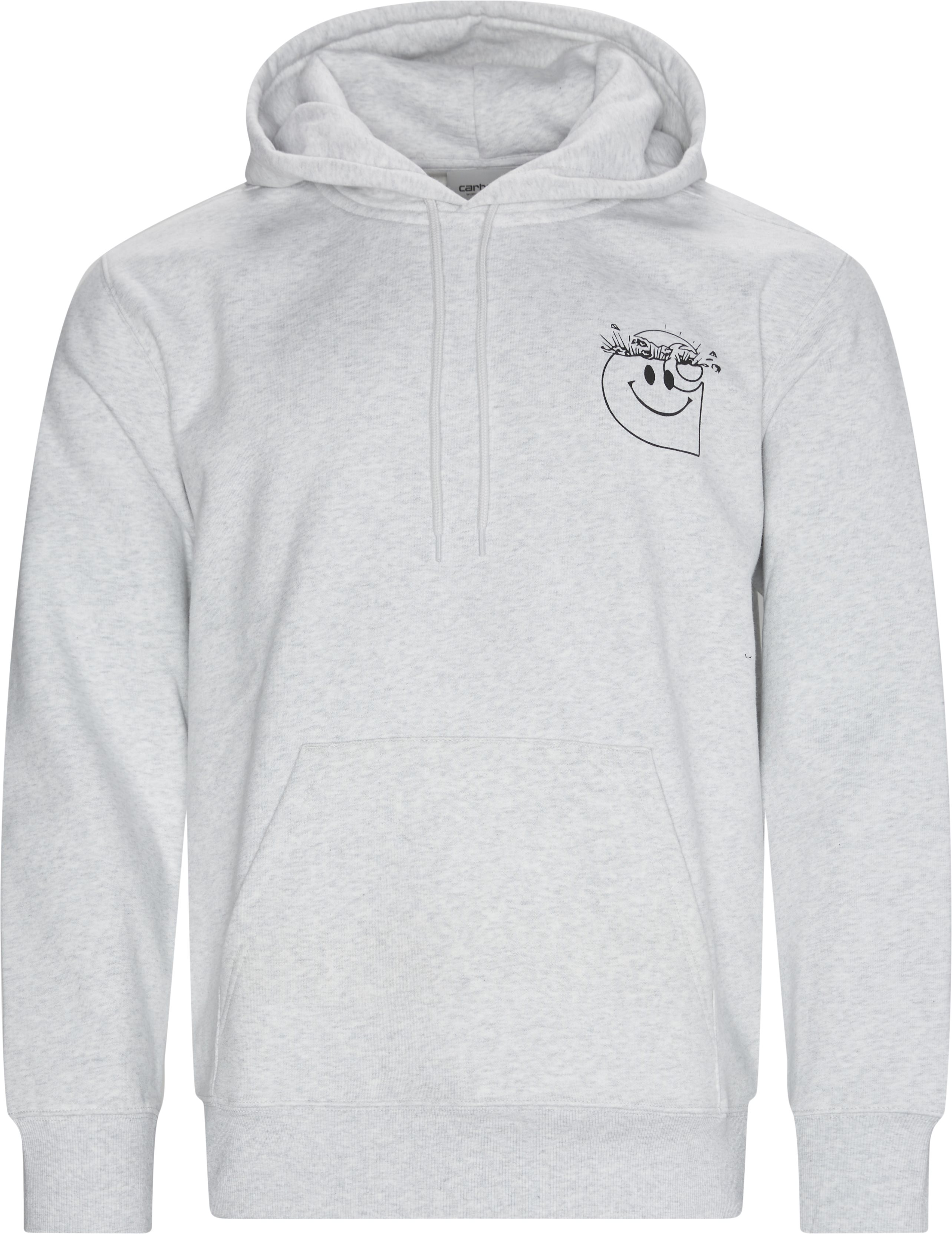 Hooded Smiley Sweatshirt - Sweatshirts - Regular fit - Grå